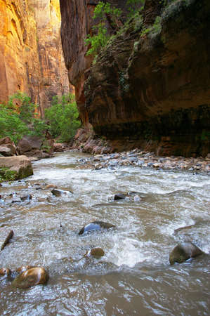 Water rushing over rocks in a desert canyon. Stock Photo - 3430881