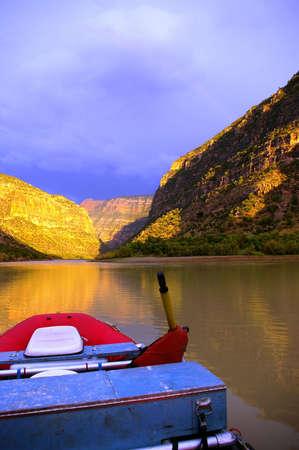 River raft on river bank in a wilderness river canyon. Reklamní fotografie