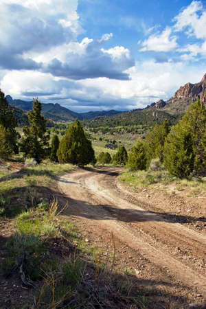 Gravel road entering a beautiful green valley. Stock Photo