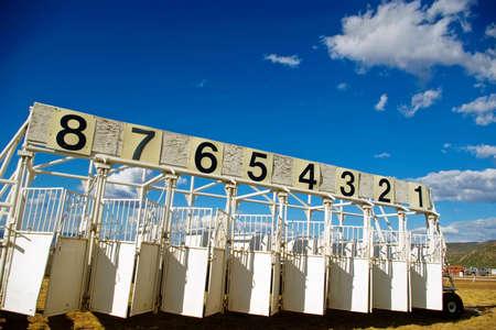 A portable horse race starting gate at the county fair. Banco de Imagens - 5519706