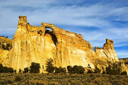 A sandstone arch in the Utah desert.