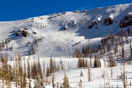 ski runs: Steep, ridge-top ski runs at a ski resort.