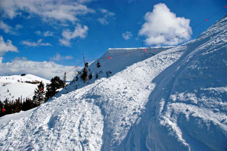 Rope line at the edge of a mountain ski resort. Stock Photo - 6741840
