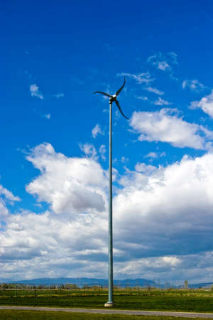A small wind turbine generates power for a local school.
