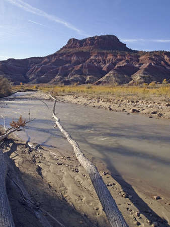 muddy: Morning view of a muddy desert river. Stock Photo