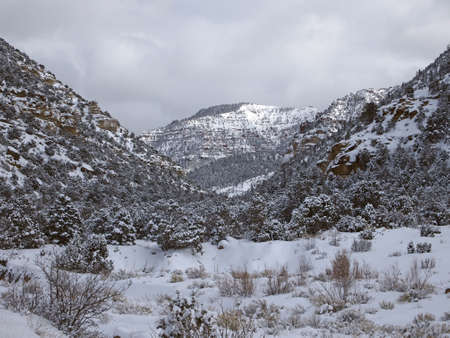 An arid southwest canyon after a winter storm  Imagens