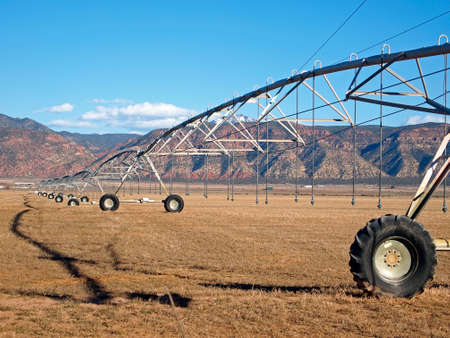 pivot: A center pivot irrigation system in an early spring field.