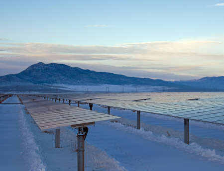 View of a solar energy installation on a winter afternoon.