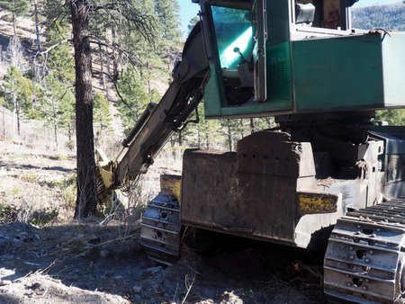 Equipment and wood decks at a logging site. Imagens - 133732396
