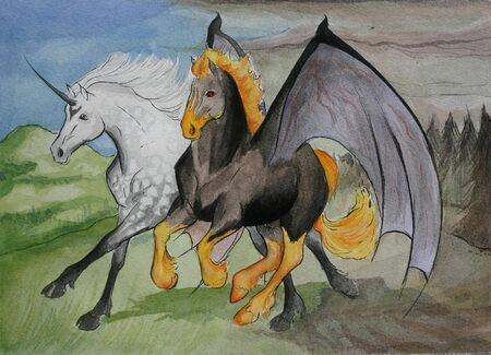 dapple grey: A strange friendhip between a dappled grey arabian unicorn and a firey nightmare