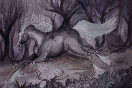 aquarel: A watercolour painting of a lonely gray horse in a strange purple forest Stock Photo