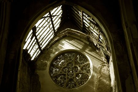 abandoned house window: An old, forgotten church ruin in Europe,