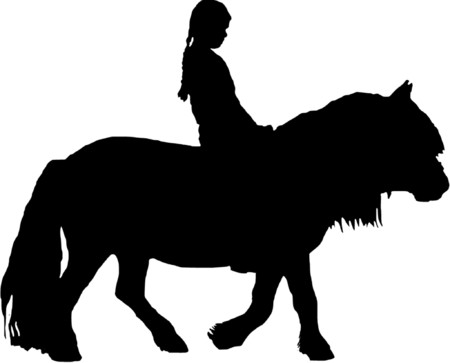 pony girl: A black and white illustration of a little girl on a pony