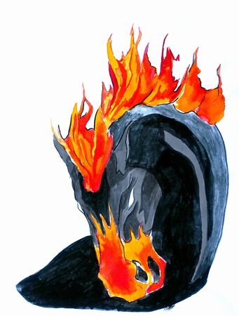 aquarel: An illustration of a black firey horse, done in watercolours and colored inks Stock Photo