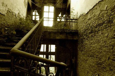 faerie: An overgrown stairway in an old, forgotten castle ruin in Europe,