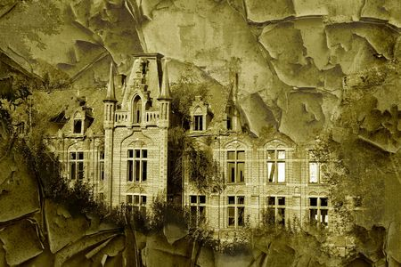merged: An old castle, merged with an old paint texture for copyspace