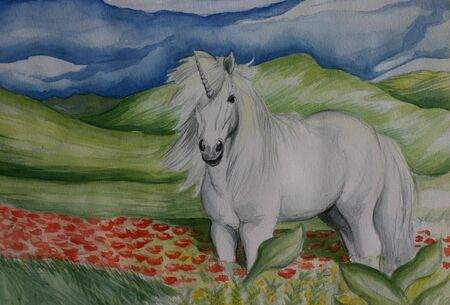 A small white pony unicorn in a green fied with red flowers, watercolor painting