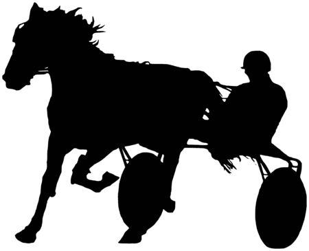 trotter: A black and white illustration of a trotter with a jockey during a race Stock Photo