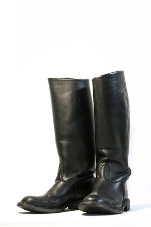 foot gear: Black leather boots isolated on a white background. Used for horseriding, dressage, showjumping Stock Photo