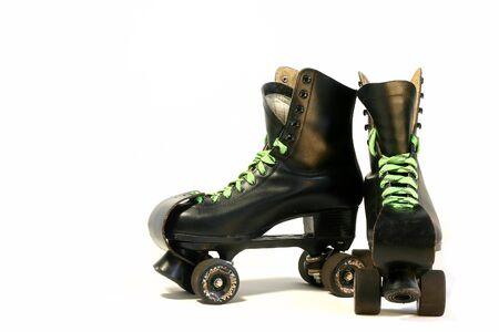 rollerskates: Black rollerskates isolated on white