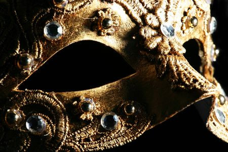 Detail of a richly decorated venetian mask Stock Photo