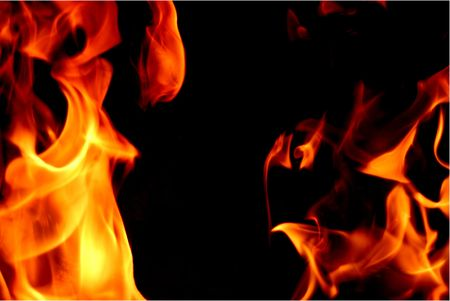 Frozen flames on a black background Stock Photo