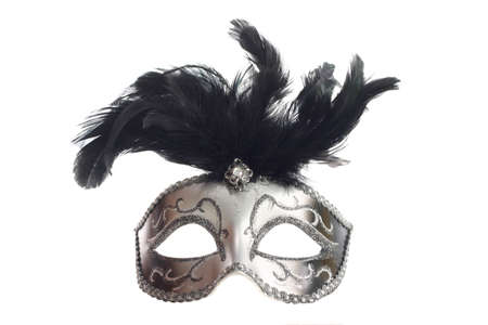 drama mask: A silver feathered Venetian mask isolated on a white background with ribbons for fastening