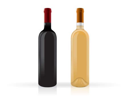 a bottle of wine mock up vector template