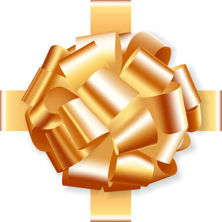 golden holiday bow on white background vector Illusztráció