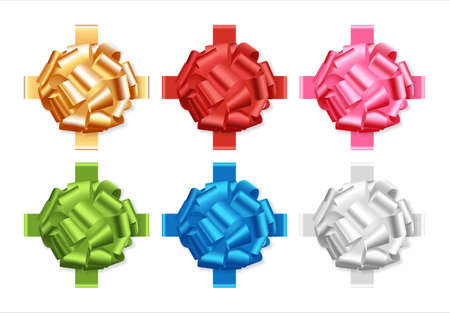 multicolored holiday bows on white background vector