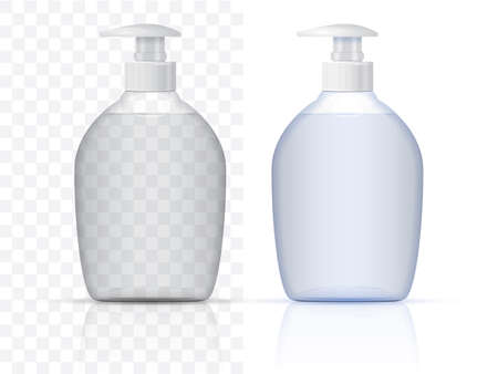 white plastic bottle with pump vector mock up template  イラスト・ベクター素材