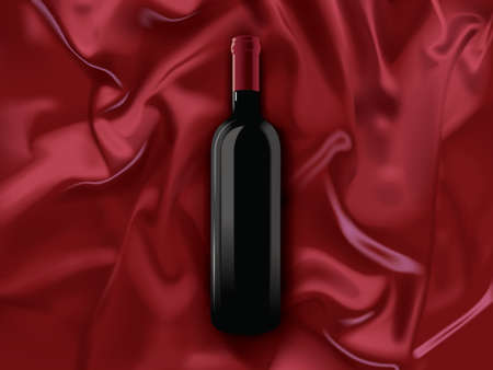 a bottle of red wine on a silk background
