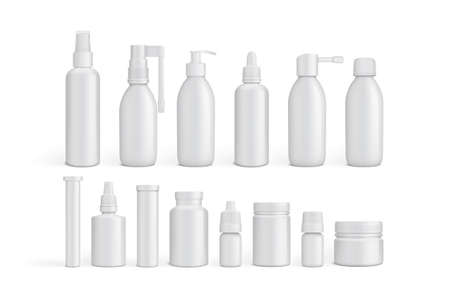 white empty packaging medicine bottles isolated on white background mock up vector  イラスト・ベクター素材