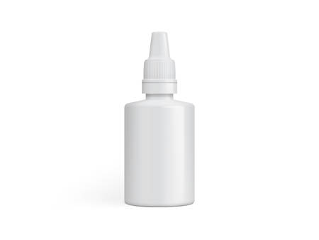 white plastic packaging for medicinal drops or glue isolated on a white background mock up template vector