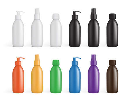 colored plastic packaging for liquids mock up vector  イラスト・ベクター素材