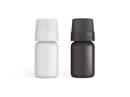white and black plastic medicine bottle isolated on white background vector mock up