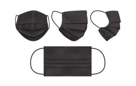 black face mask isolated on white background mock up vector