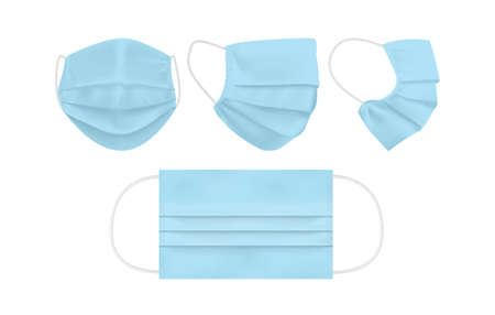 blue face mask isolated on white background mock up vector