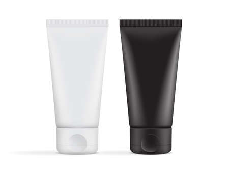 black and white cream tube packaging isolated on white background mock up vector  イラスト・ベクター素材