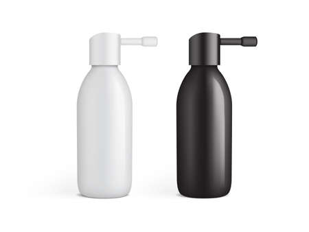 white and black plastic bottle for ear spray isolated on white background mock up template vector