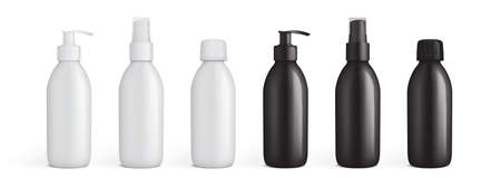 white and black plastic packaging for liquids mock up vector