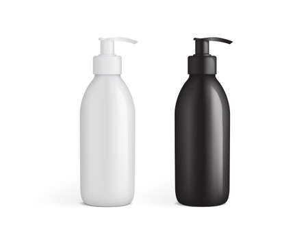 white and black plastic bottle with pump vector mock up template  イラスト・ベクター素材