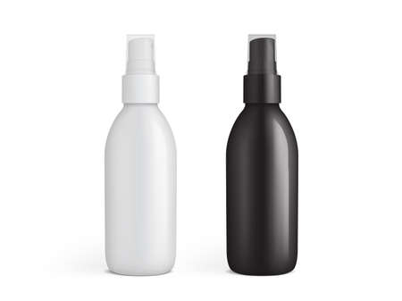 white and black plastic spray bottle isolated on white background vector mock up