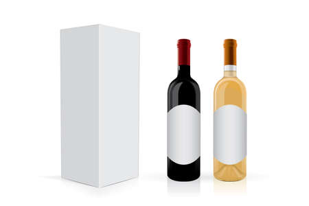 a bottle of wine with a package Mock Up Vector Template Illustration