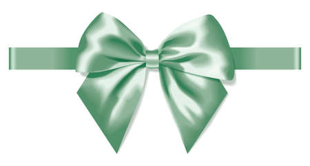 light green silk bow with ribbon decoration for gift  イラスト・ベクター素材