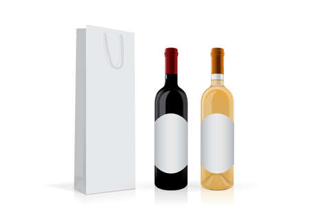 a bottle of wine with a package Mock Up Vector Template  イラスト・ベクター素材