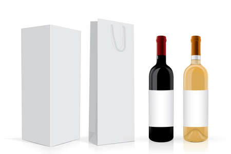 a bottle of wine with a box and a package Mock Up Vector Template