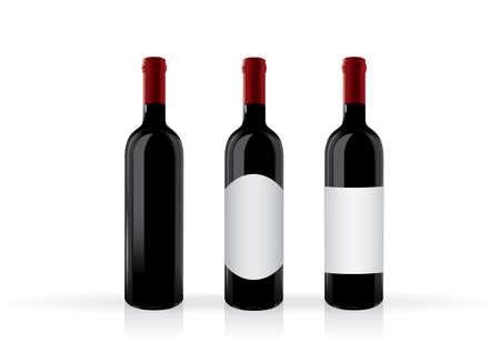 bottle of red wine mock up vector template  イラスト・ベクター素材