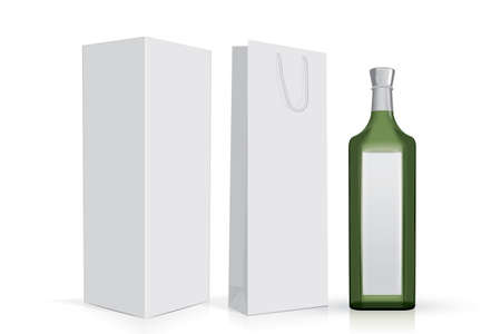 transparent glass bottle with box and bag on a white background mock up vector template  イラスト・ベクター素材