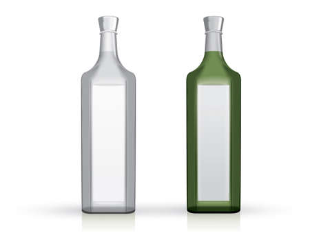 transparent green glass and white bottle on a white background mock up vector template  イラスト・ベクター素材
